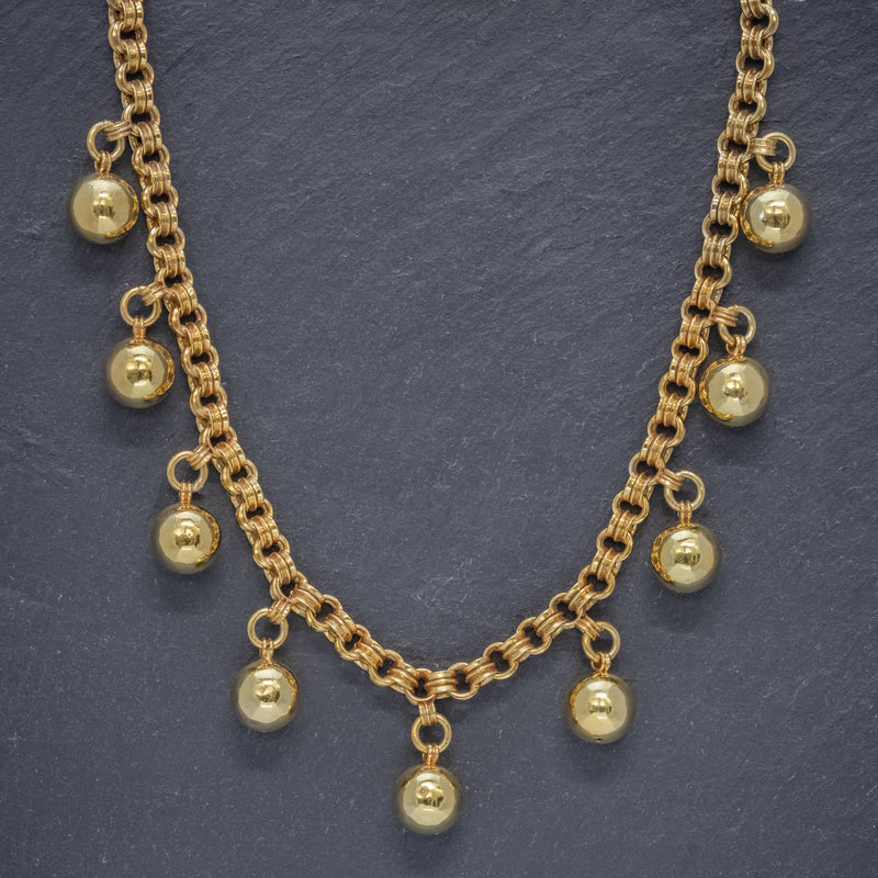 ANTIQUE VICTORIAN NECKLACE 18CT GOLD ON SILVER BALL COLLAR CIRCA 1900  FRONT