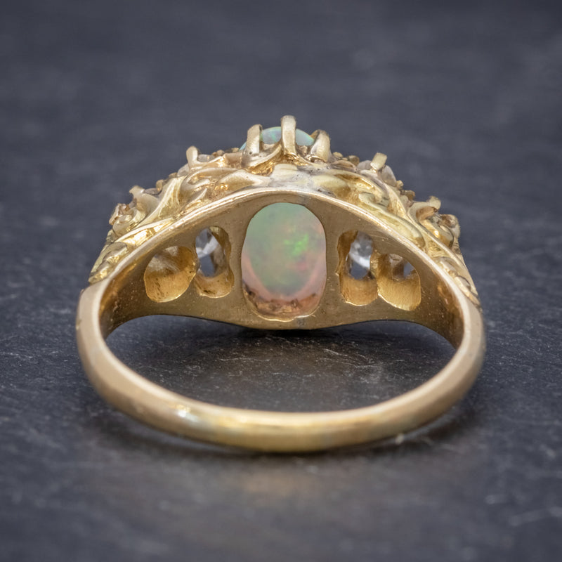 ANTIQUE VICTORIAN OPAL DIAMOND RING 18CT GOLD CIRCA 1880 BACK