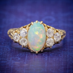 ANTIQUE VICTORIAN OPAL DIAMOND RING 18CT GOLD CIRCA 1880 COVER