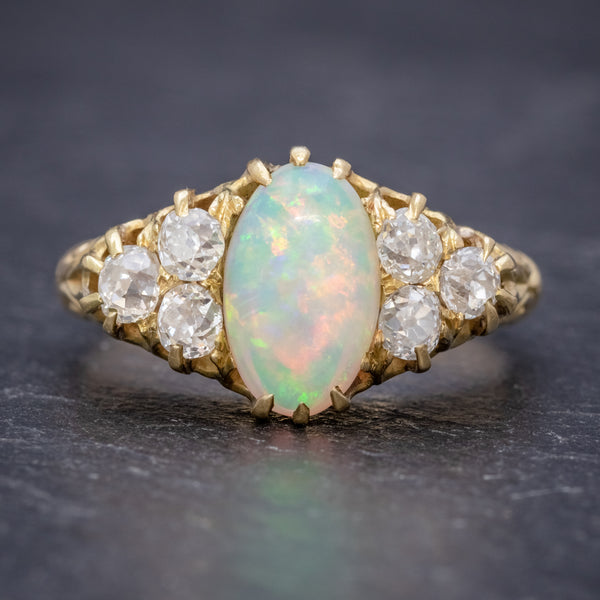 ANTIQUE VICTORIAN OPAL DIAMOND RING 18CT GOLD CIRCA 1880 FRONT