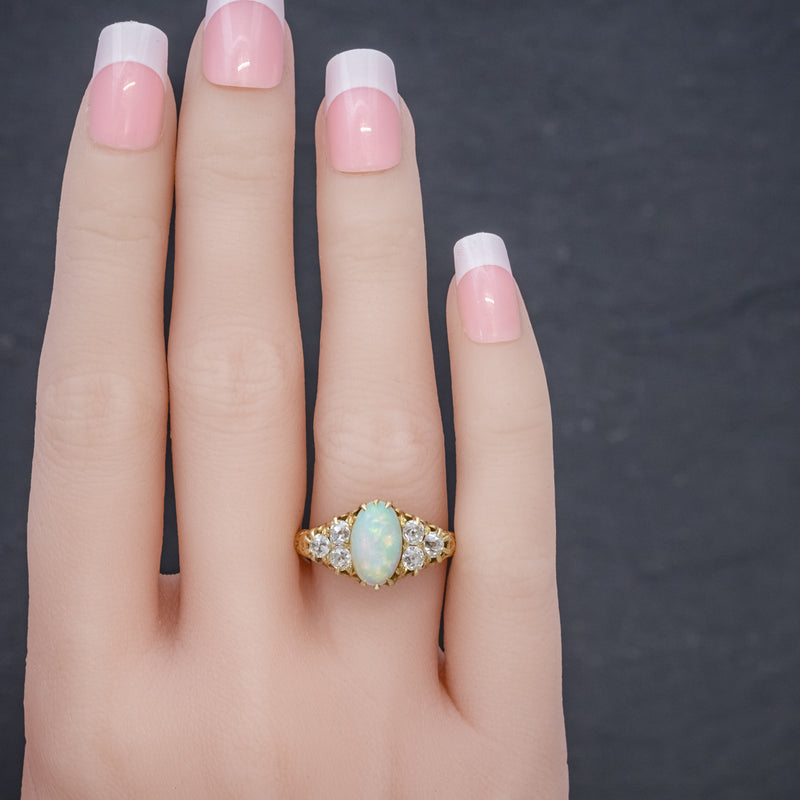 ANTIQUE VICTORIAN OPAL DIAMOND RING 18CT GOLD CIRCA 1880 HAND
