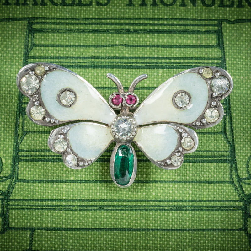 Antique Victorian Paste Emerald Butterfly Brooch Silver Dated 1902 COVER
