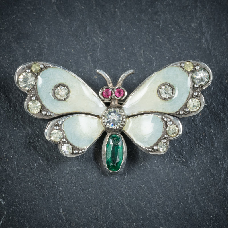 Antique Victorian Paste Emerald Butterfly Brooch Silver Dated 1902 FRONT