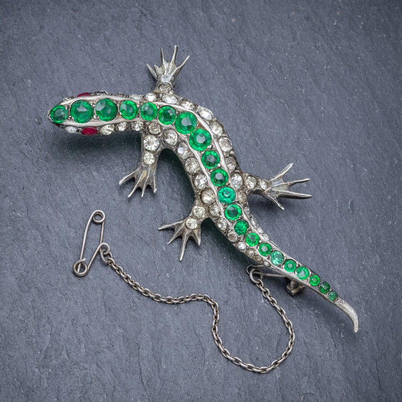 ANTIQUE VICTORIAN PASTE STONE LIZARD BROOCH SILVER CIRCA 1880 FRONT