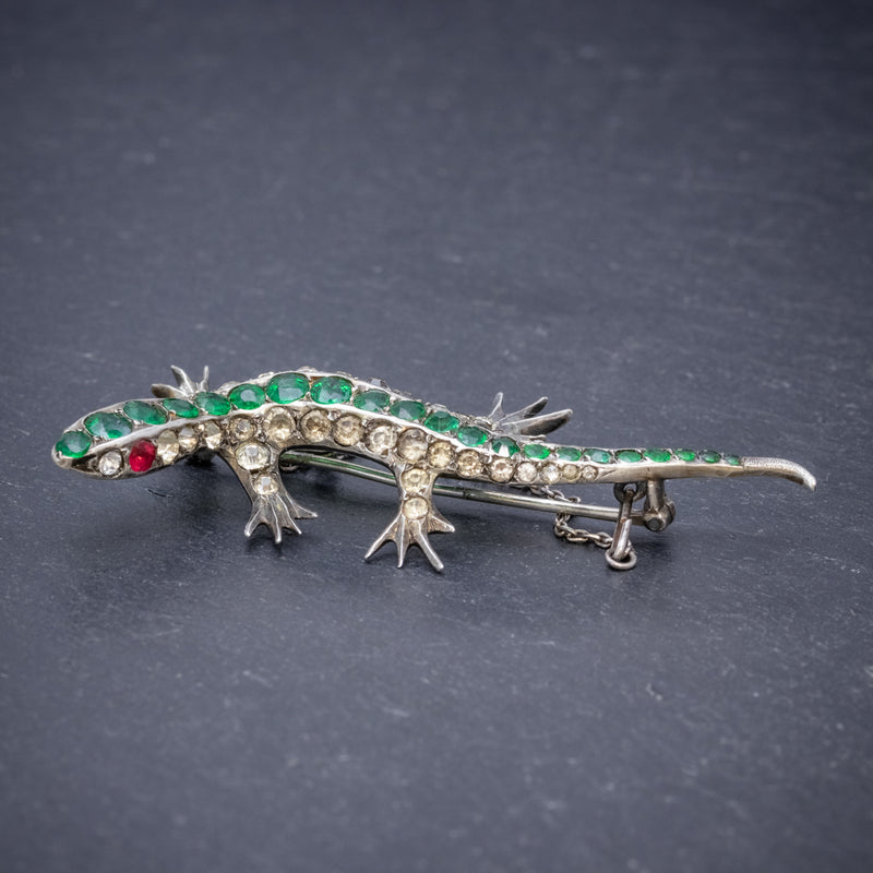 ANTIQUE VICTORIAN PASTE STONE LIZARD BROOCH SILVER CIRCA 1880 SIDE