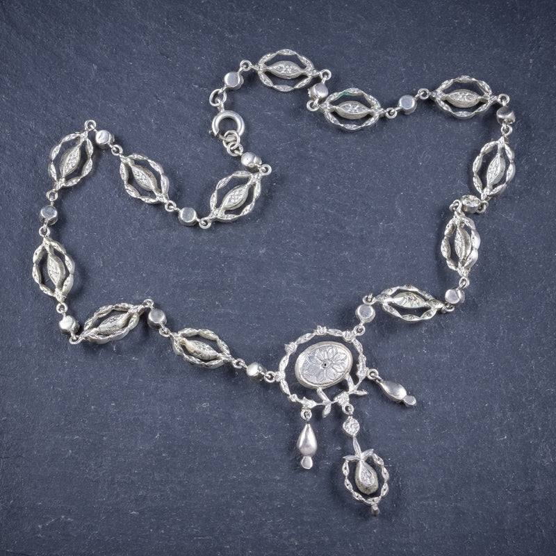 Antique Victorian Paste Stone Silver Necklace Circa 1880 Boxed  BACK