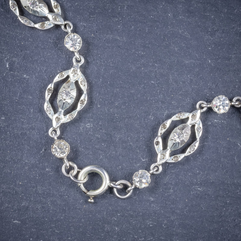 Antique Victorian Paste Stone Silver Necklace Circa 1880 Boxed  CLASP