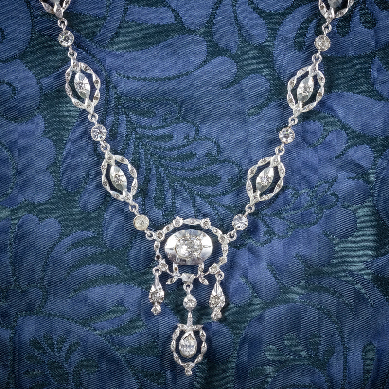 Antique Victorian Paste Stone Silver Necklace Circa 1880 Boxed COVER