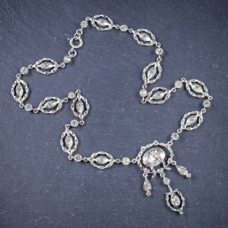 Antique Victorian Paste Stone Silver Necklace Circa 1880 Boxed TOP