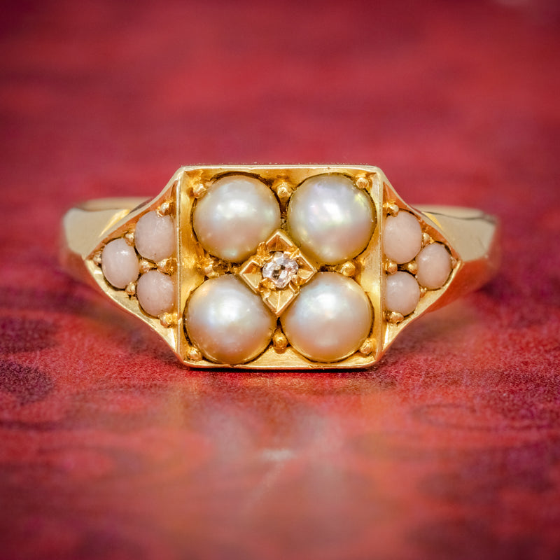 ANTIQUE VICTORIAN PEARL CORAL DIAMOND CLUSTER RING 18CT GOLD DATED 1872 COVER