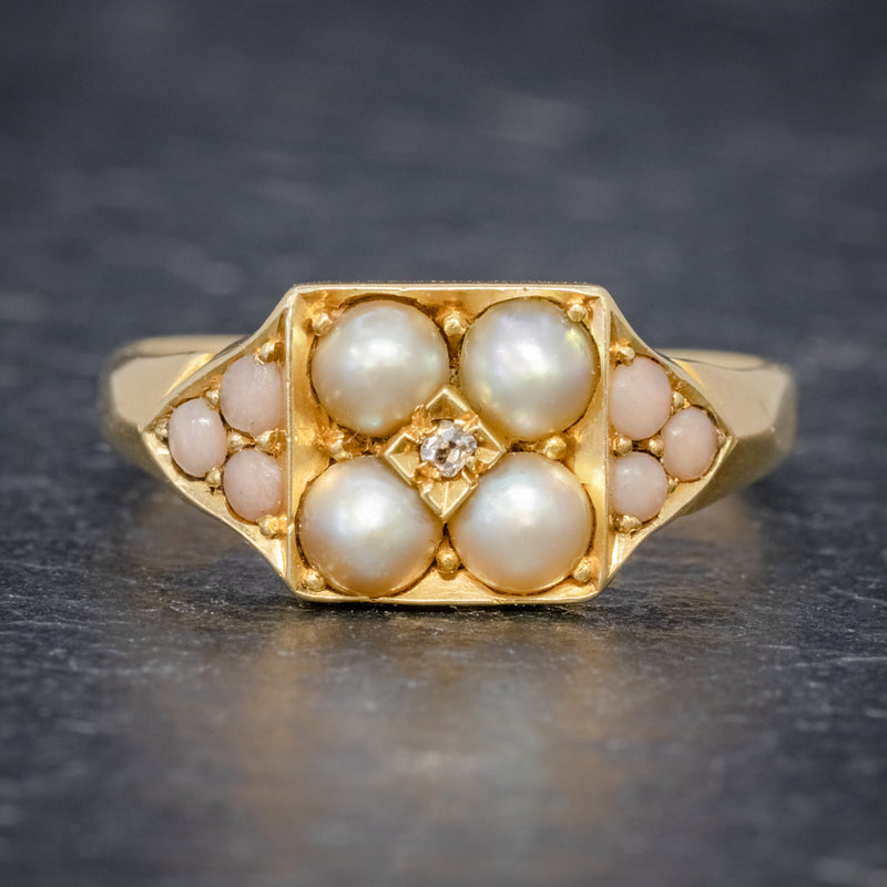 ANTIQUE VICTORIAN PEARL CORAL DIAMOND CLUSTER RING 18CT GOLD DATED 1872 FRONT