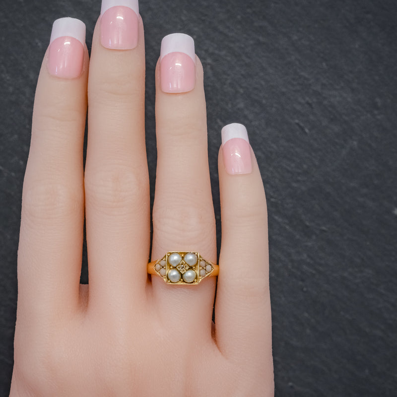 ANTIQUE VICTORIAN PEARL CORAL DIAMOND CLUSTER RING 18CT GOLD DATED 1872 HAND