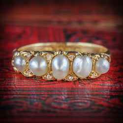 ANTIQUE VICTORIAN PEARL DIAMOND RING CIRCA 1870 18CT GOLD COVER