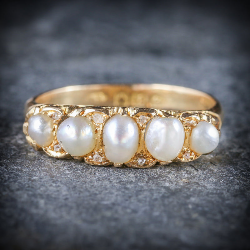 ANTIQUE VICTORIAN PEARL DIAMOND RING CIRCA 1870 18CT GOLD FRONT