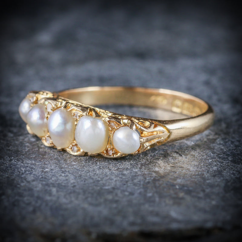 ANTIQUE VICTORIAN PEARL DIAMOND RING CIRCA 1870 18CT GOLD SIDE