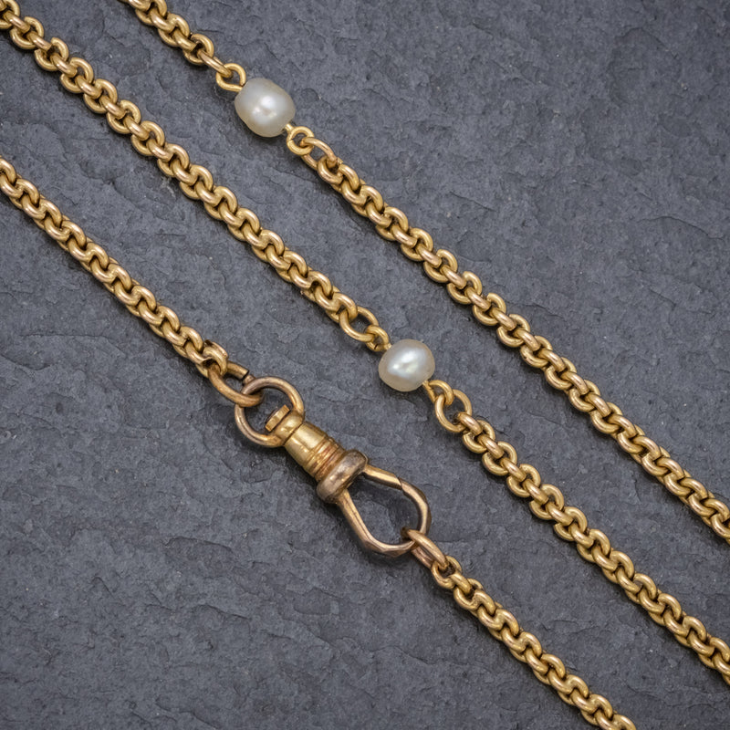 ANTIQUE VICTORIAN PEARL GUARD CHAIN 15CT GOLD LINK NECKLACE CIRCA 1900 CLASP