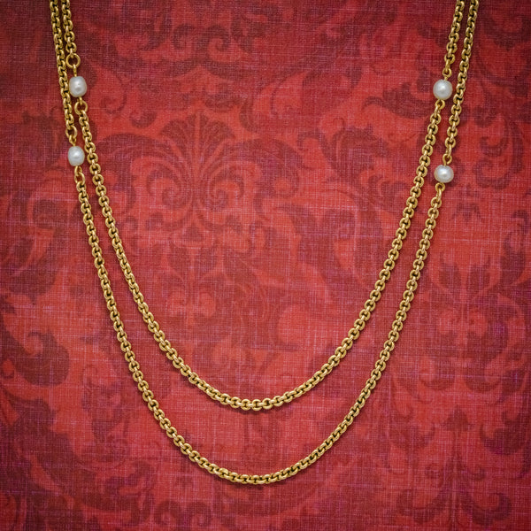 ANTIQUE VICTORIAN PEARL GUARD CHAIN 15CT GOLD LINK NECKLACE CIRCA 1900 COVER