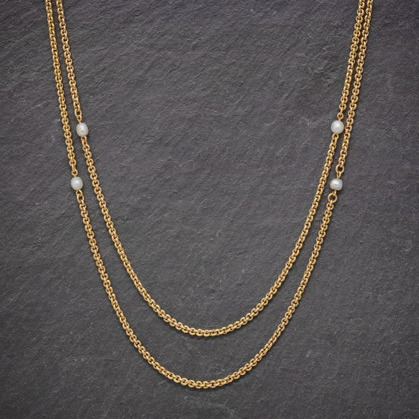 ANTIQUE VICTORIAN PEARL GUARD CHAIN 15CT GOLD LINK NECKLACE CIRCA 1900 FRONT