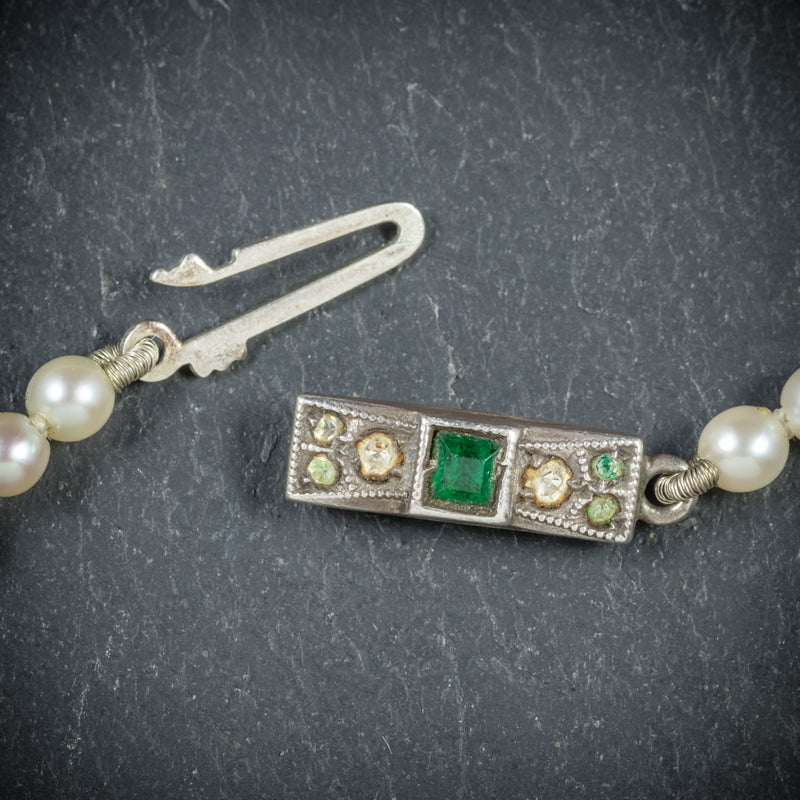 Antique Victorian Pearl Necklace Boxed Circa 1900 CLASP