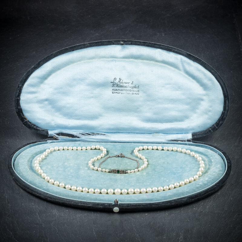 Antique Victorian Pearl Necklace Boxed Circa 1900 open