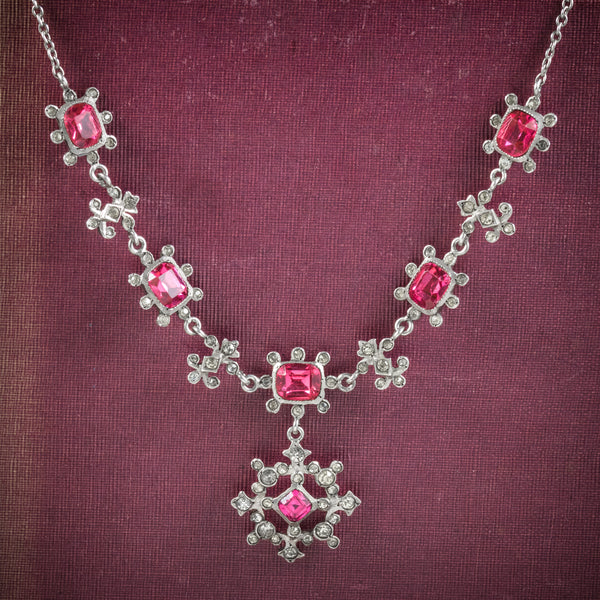 Antique Victorian Pink Paste Necklace Silver Circa 1900