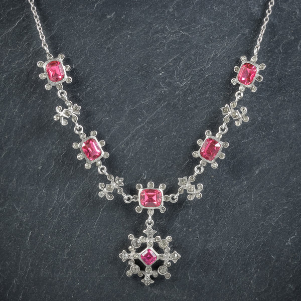 Antique Victorian Pink Paste Necklace Silver Circa 1900 front