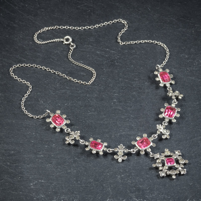 Antique Victorian Pink Paste Necklace Silver Circa 1900 top