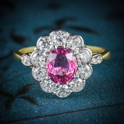 ANTIQUE VICTORIAN PINK SAPPHIRE DIAMOND RING 18CT GOLD COVER