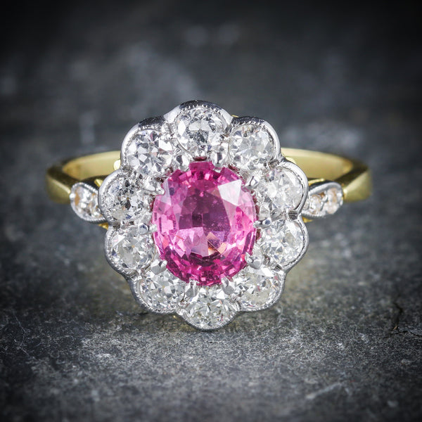 ANTIQUE VICTORIAN PINK SAPPHIRE DIAMOND RING 18CT GOLD FRONT