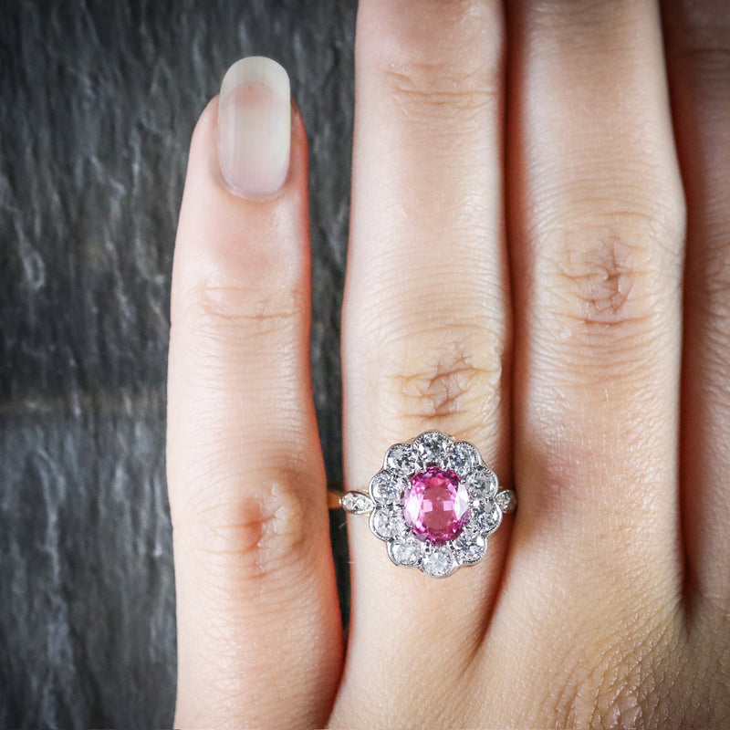ANTIQUE VICTORIAN PINK SAPPHIRE DIAMOND RING 18CT GOLD HAND
