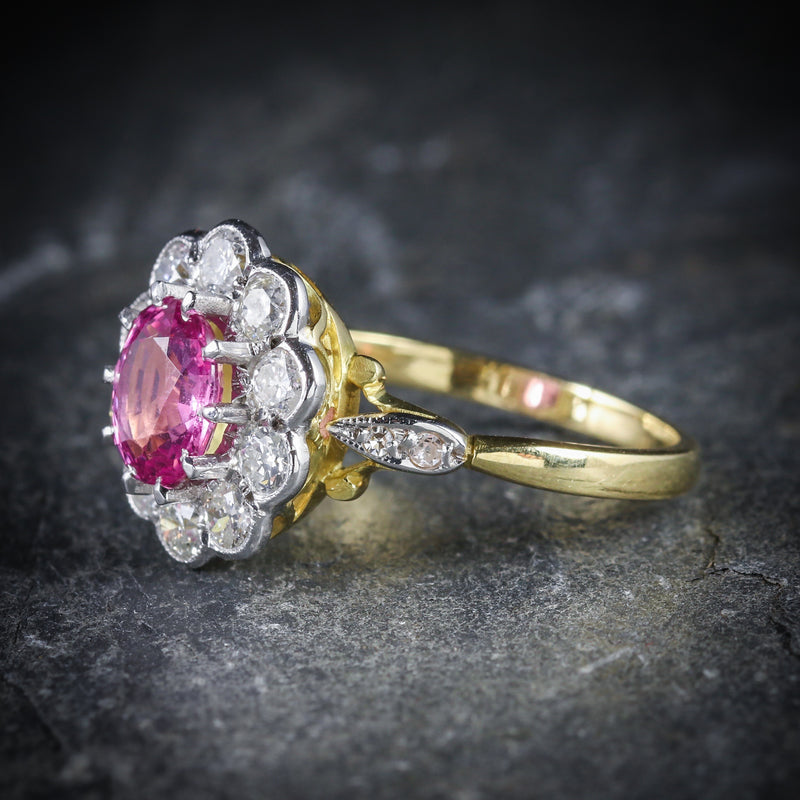 ANTIQUE VICTORIAN PINK SAPPHIRE DIAMOND RING 18CT GOLD SIDE
