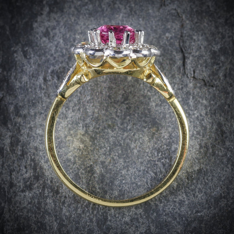 ANTIQUE VICTORIAN PINK SAPPHIRE DIAMOND RING 18CT GOLD TOP
