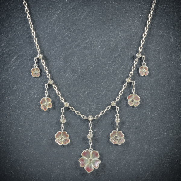 Antique Victorian Plique a Jour Flower Necklace Circa 1900 front