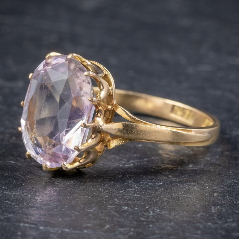 Antique Victorian Purple Spinel Ring 18ct Gold 5ct Spinel Circa 1900 SIDE