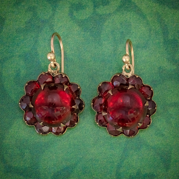 ANTIQUE VICTORIAN RED PASTE GARNET FLOWER EARRINGS CIRCA 1880 COVER