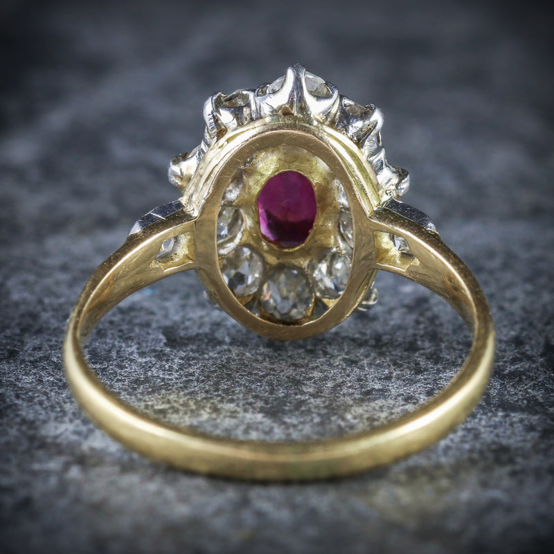 ANTIQUE VICTORIAN RUBY DIAMOND CLUSTER RING PLATINUM 18CT GOLD CIRCA 1900 BACK