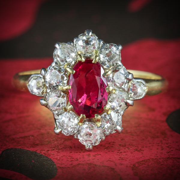 ANTIQUE VICTORIAN RUBY DIAMOND CLUSTER RING PLATINUM 18CT GOLD CIRCA 1900 COVER