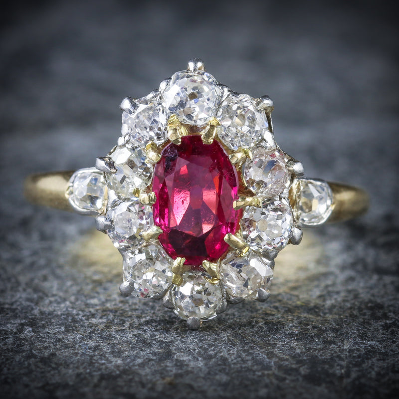 ANTIQUE VICTORIAN RUBY DIAMOND CLUSTER RING PLATINUM 18CT GOLD CIRCA 1900 FRONT