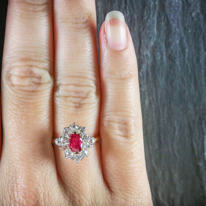 ANTIQUE VICTORIAN RUBY DIAMOND CLUSTER RING PLATINUM 18CT GOLD CIRCA 1900 HAND