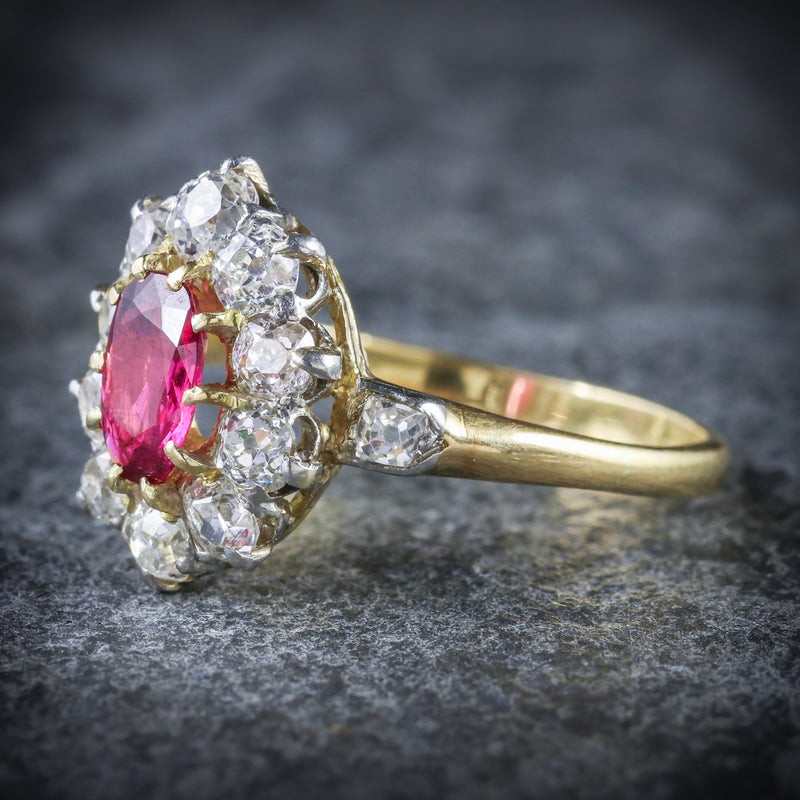 ANTIQUE VICTORIAN RUBY DIAMOND CLUSTER RING PLATINUM 18CT GOLD CIRCA 1900 SIDE