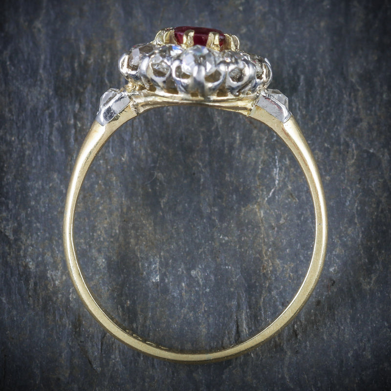 ANTIQUE VICTORIAN RUBY DIAMOND CLUSTER RING PLATINUM 18CT GOLD CIRCA 1900 TOP