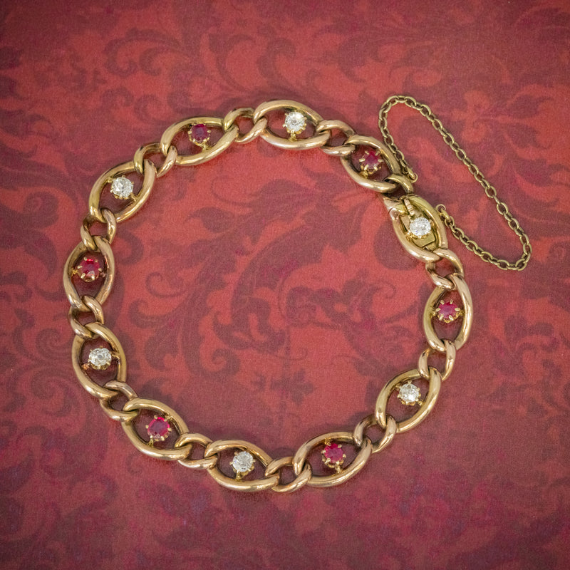 ANTIQUE VICTORIAN RUBY DIAMOND CURB BRACELET 18CT GOLD CIRCA 1880 COVER