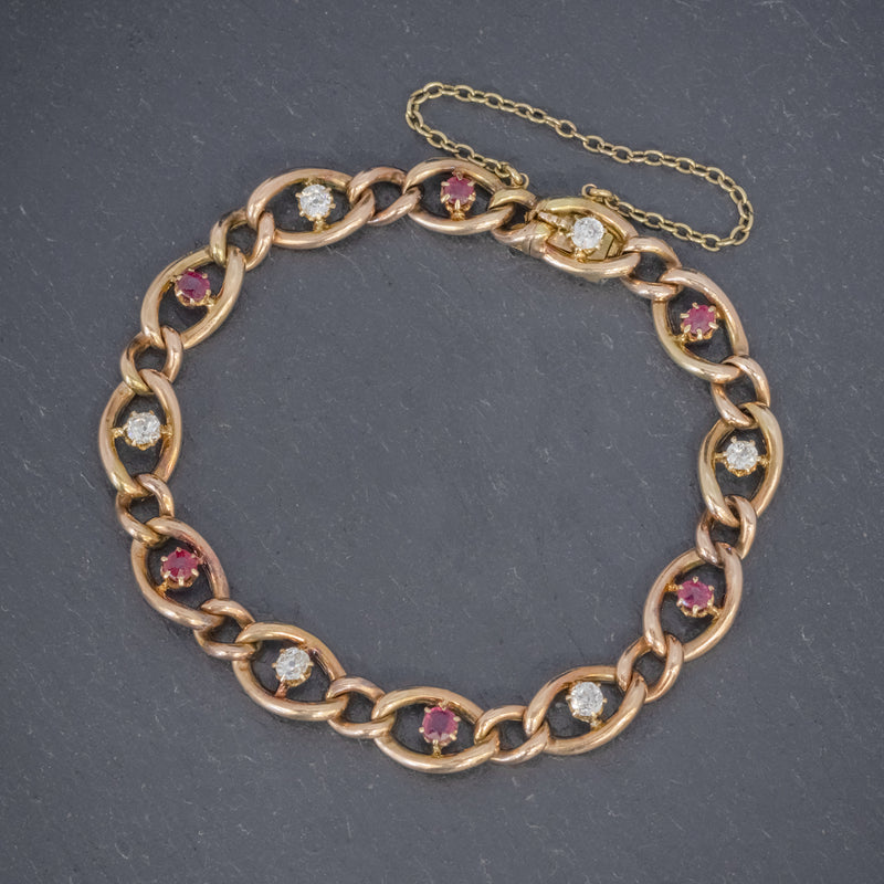 ANTIQUE VICTORIAN RUBY DIAMOND CURB BRACELET 18CT GOLD CIRCA 1880 FRONT