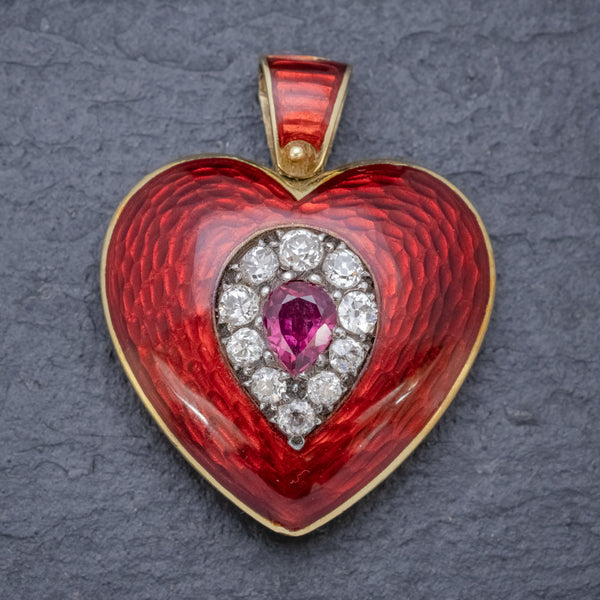 ANTIQUE VICTORIAN RUBY DIAMOND RED GUILLOCHE ENAMEL HEART PENDANT LOCKET 18CT GOLD FRONT