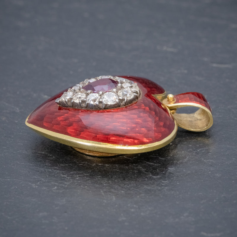 ANTIQUE VICTORIAN RUBY DIAMOND RED GUILLOCHE ENAMEL HEART PENDANT LOCKET 18CT GOLD SIDE
