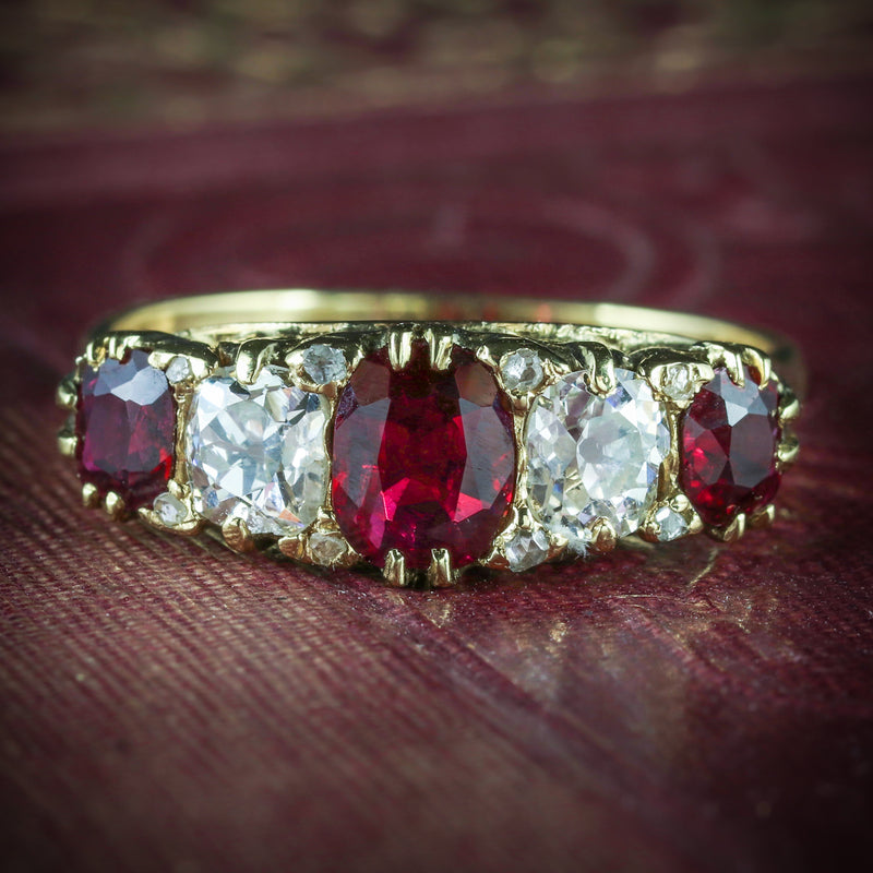 ANTIQUE VICTORIAN RUBY DIAMOND RING 18CT GOLD CIRCA 1900 COVER