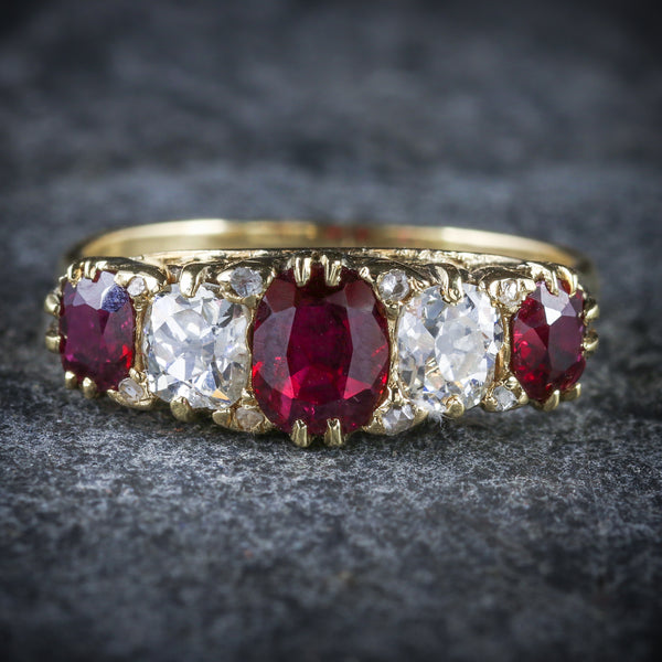 ANTIQUE VICTORIAN RUBY DIAMOND RING 18CT GOLD CIRCA 1900 FRONT