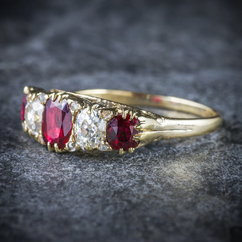 ANTIQUE VICTORIAN RUBY DIAMOND RING 18CT GOLD CIRCA 1900 SIDE