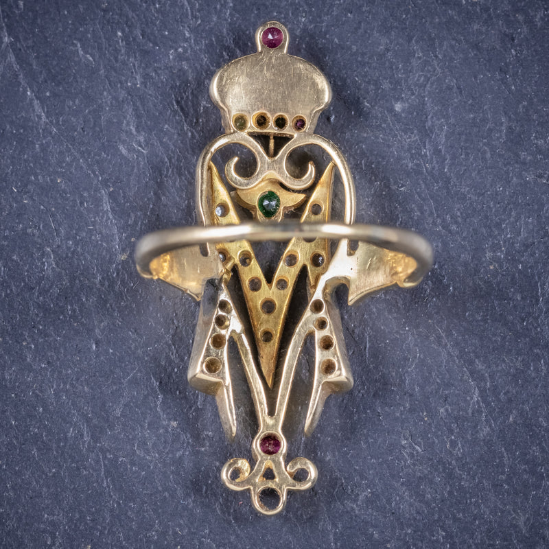 Antique Victorian Ruby Emerald Diamond Ring Initial M Ring Circa 1900 back2