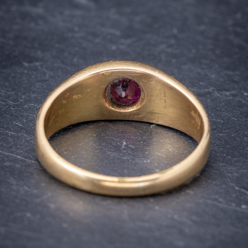 Antique Victorian Ruby Ring 18ct Gold 0.60ct Ruby Circa 1900 BACK